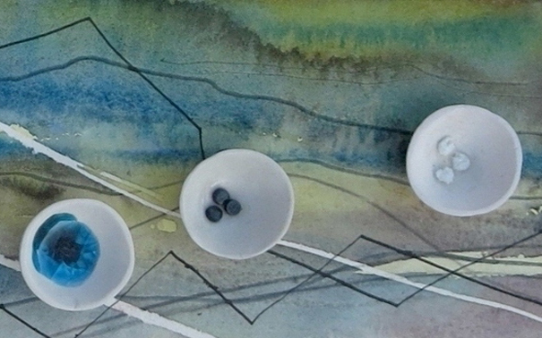 Pulse 1012-13 porcelain receptacles of fired elements on watercolour, detail 2