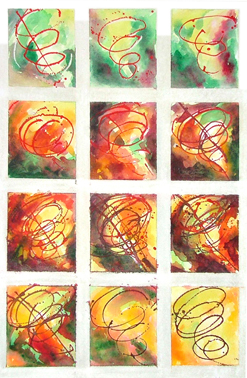 Studies for Chasing the Void, 2010, acrylic and watercolour on paper (63x44cms)