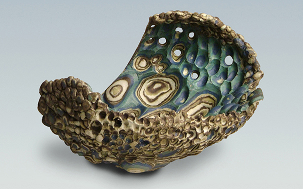 Curved Form with Cobalt 2009 (stoneware h13xw18xd15cms)