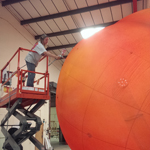 Frankie Locke ~ The Giant Peach, painting in workshop