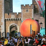 Frankie Locke ~ The Giant Peach, outside Cardiff Castle